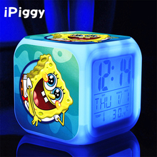 sponge bob New LED 7 Colors Change Digital bob spongebob AlarmClocks Night Colorful Glowing toys(China)