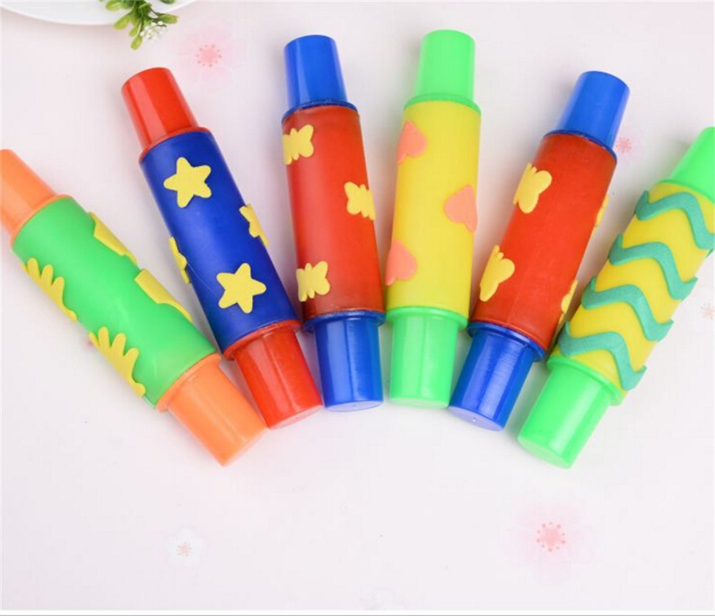 DIY Flowers Decoration Roller Brush seal Kids Toys Plasticine model rolling pin ntelligent plasticine clay mold tool 18cm
