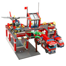 City Fire Station Rescue Fire Engine Truck Vehicle Helicopter Model Building Block Play Toy Compatible with Lego Kazi 8051 8054