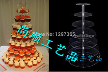 Free Shipping 7 tier Factory acrylic cake stand acrylic cupcake display stand acrylic tower cupcake stand podium