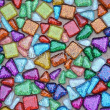 200g Irregular Mosaic Mosaic Tiles DIY Craft Material Flowerpot Lantern Garden Ornaments Glass Marble Glitter Flat Mosaic Beads(China)