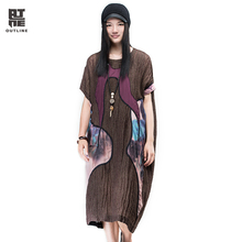 Outline Women Linen Long Dress Elegant Half sleeve O-neck Vestido Vintage Patch Casual Loose Plus Size Summer Maxi DressL162Y007