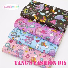 4PCS--High Quality DIY colorful printed princess  leathers/Synthetic leather/DIY fabric 20x22cm per pcs CAN CHOOSE COLOR