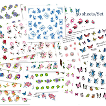 50 Sheets/set Nail Art Transfer Sticker Water Decal Flower Kiss Love Butterfly Random Pattern Nail Manicure Sticker 8316979(China)