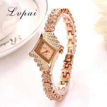 Lvpai Women Watches Luxury Crystal Bracelet Gemstone Wristwatch Dress Watches Women Ladies Gold Watch Fashion Female Brand Watch
