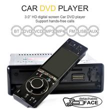 "3"" Single 1 Din Car DVD Player Radio Stereo Detachable Panel Video Bluetooth Subwoofer AUX Camera In CD MP5 Audio"