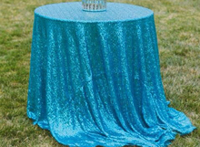 ShinyBeauty High-Density Sequin Tablecloth Round 120 Round Turquoise Glitter Table Overlays for Party/Wedding Decoration(China)