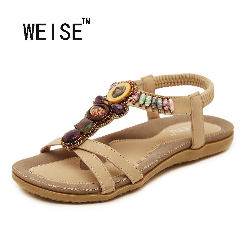 Free Shipping 2017 New National Style Women Sandals Bohemia Flats Beaded Size Foreign Trade Shoes Summer Shoes Women Shoes<br><br>Aliexpress