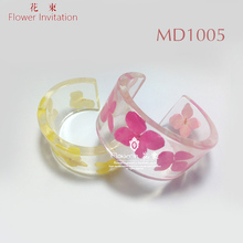 Flower Invitation Bangle mold MD1005_Transparent Silicone Round Open Bracelet Mould For Resin Real Flower DIY Mold(China)