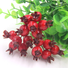 50PCS/Lot Mini Artificial Fake Smooth Foam Pomegranate Fruit Small Berries Red Cherry Stamen Bouquet For Home Wedding Decoration