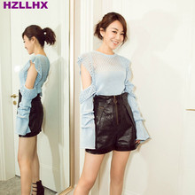 HZLLHX Sweet blue leaking shoulder hollow women knitted sweater woman crocheted pullovers super baby blue quiet simple knitting