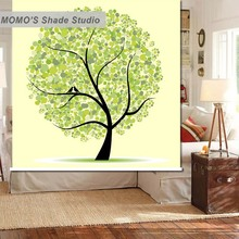 MOMO Thermal Insulated Blackout Fabric Custom Life Tree Window Curtains Roller Shades Blinds, Alice 151-154