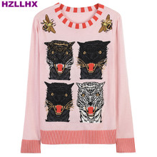 HZLLHX women pink fall autumn wool sweater Slim O-neck pullovers knit  4 leopards UFO bee pattern sweater top tiger winter pink
