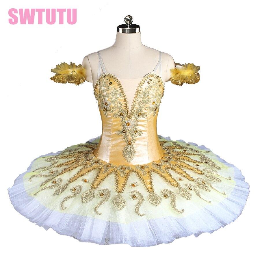 new arrival 2017 women gold yellow pancake tutu professional queen ballet tutu girls classical nutracker ballet tutus BT9134E