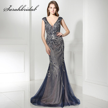 Gorgeous Navy Blue Long Mermaid Celebrity Dresses with Luxury Pearls Crystal V-Neck Formal Evening Party Gowns Red Carpet Dress(China)