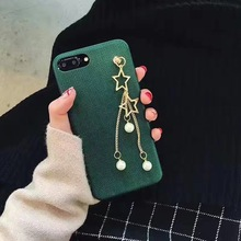 New Nice Fashion Vintage Green Jewelry Stars Tassel Hard PC Slim Back Cover For iPhone 6 s 7 plus Cool Stylish Phone Case Girls