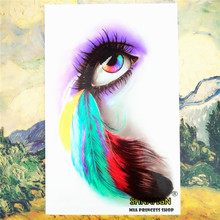 Feather Eyelash Temporary Tattoo Body Art Sleeve Arm Flash Tattoo Stickers 12*20cm painless Henna selfie Tatoo tattoo stickers(China)