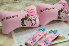 1 pair 27cm sweet My Melody bowknot plush vehicle bone neck pillow safety belt cover novelty kids romantic stuffed toy
