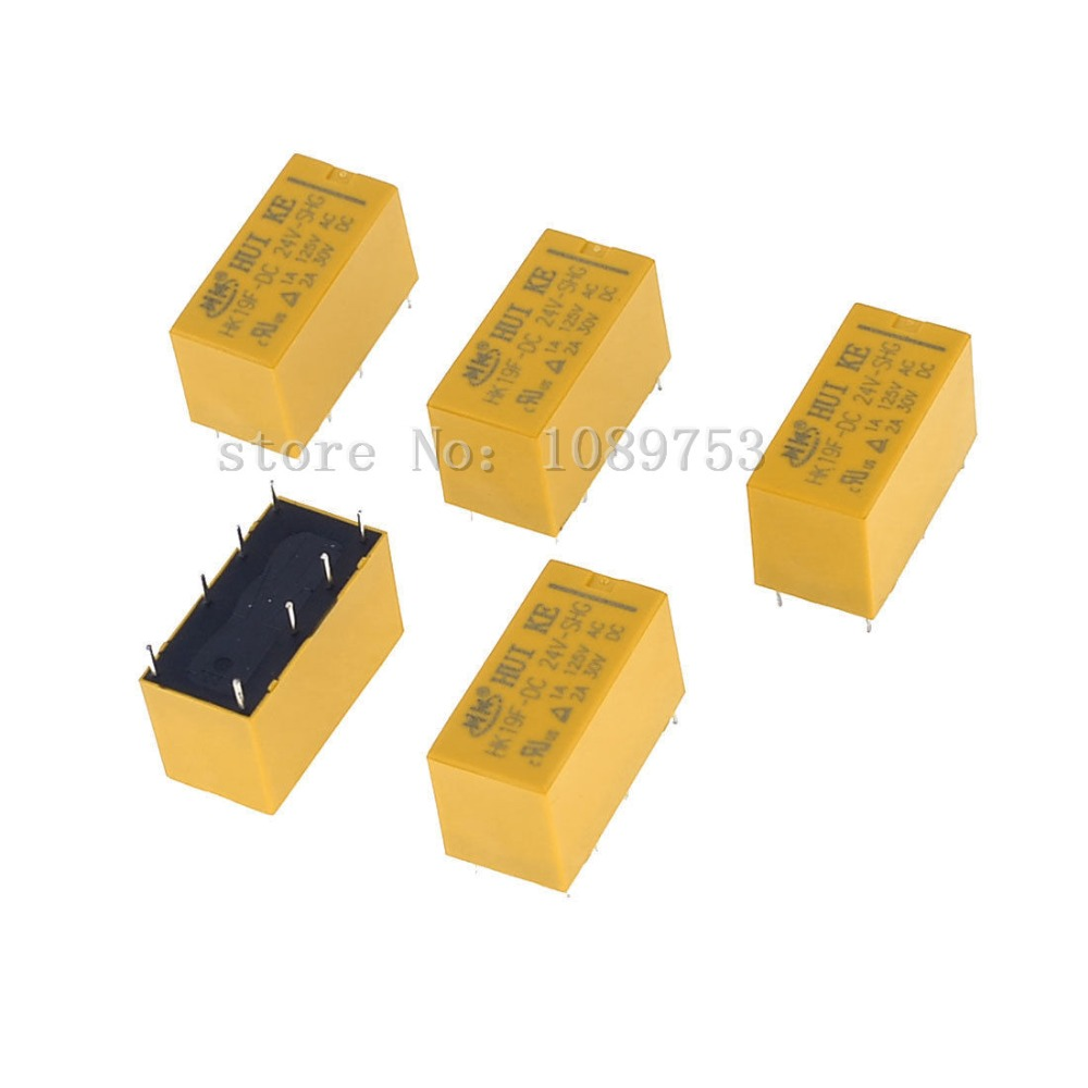 50 pcs High Quality 8 Pins RELAY 24V DC Coil Power Relay PCB HK19F-DC24V-SHG<br>