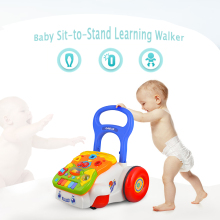 Baby Walker Baby First Steps Car Toddler Trolley Sit-to-Stand Walker for Kid's Early Learning Educational Musical Walker(China)