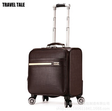 New retro fashion 16 inch carry on leather suitcase spinner traveling bag business trolley(China)