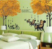 Maple Scenery Armchair Park Roadside Trees DIY Removable Wall Stickers Living Room Home Decor Mural Decal Wallpaper DF5073
