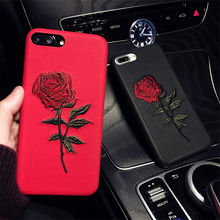 New Fashion Embroidery Rose Flower Phone Case For Apple iphone 6 6s Luxury Imitation leather Back Covers Art Phone Accessories