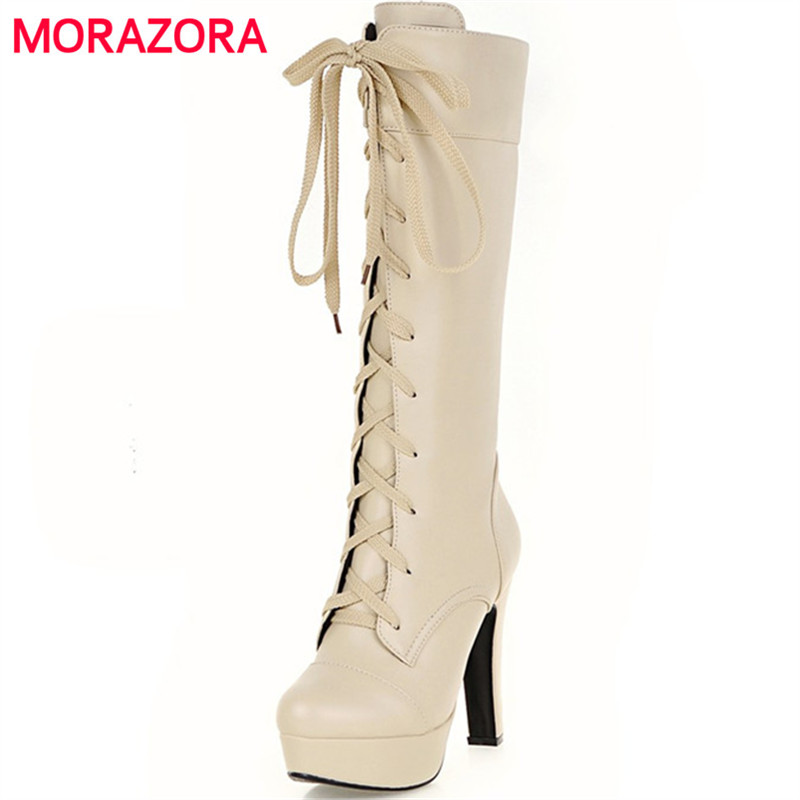 MORAZORA Mid calf boots for women in spring autumn high heels boots fashion contracted platform shoes large size 34-45<br>