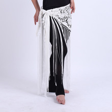Hand Made Belly Dance Clothes Women Dancewear Flowers Long Fringe Hand Crochet Triangle Belt Belly Dance Hip Scarf Lace(China)