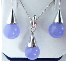 Free shipping 00507 Lavender Drop Pendant Necklace Hook Earrings Set(China)