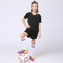 2017 Students Blank Football Jersey+Shorts Sets Boys and Girls Customized Training Suits Youth Kids Football Soccer Jerseys Sets