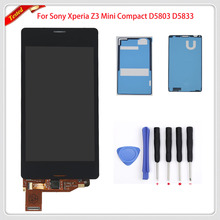 4.3 inch For Sony Xperia Z3 Mini Compact D5803 D5833 LCD Display Touch Screen Digitizer Full + Adhesive + Tools, Free Shipping