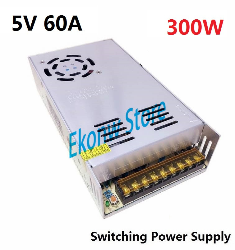 300W 5V 60A Switching Power Supply Factory Outlet SMPS Driver AC110-220V to DC5V Transformer for LED Strip Light Module Display<br>