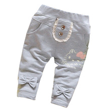 Hot Sale 2016 New Spring&Autumn 100% Cotton high quality Cute Cartoon baby pants for girls pants 0-2 years baby leggings