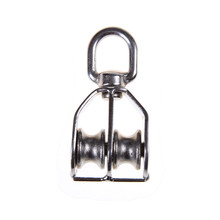JETTING M15 304 Stainless Steel Durable Swivel Double Sheave Wire Rope Pulley Block Chain Traction Wheel