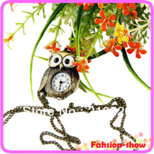 Vintage antique fashion alloy owl pocket watch necklace Keychain Bronze Big Eyes Chain Watch