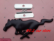 Free shipping 3D Black Mustang Running Horse Metal Car Front Hood Grill Badge Grille Emblem Logo stickers auto accessories