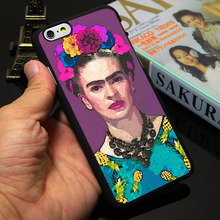 Trendy Frida Kahlo Black Phone Case for iPhone 5S 5 SE 5C 4 4S 6 6S 7 Plus Cover ( Soft TPU / Hard Plastic for Choice )