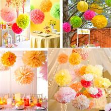 10pcs Paper PomPom Tissue Ball Decorative Supplies Flower For Wedding Home Party Room Banquet Decoration Pompon Craft Products(China)