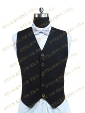 Free Shipping  Halloween Costume Classic Black Tweed Single Breasted Victorian Victorian Steampunk Waistcoat