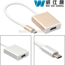 USB 3.1 Type C to HDMI 4K HDTV Digital Adapter Cable Gold Silver Colors Approx 13cm Length Converter Cable(China)