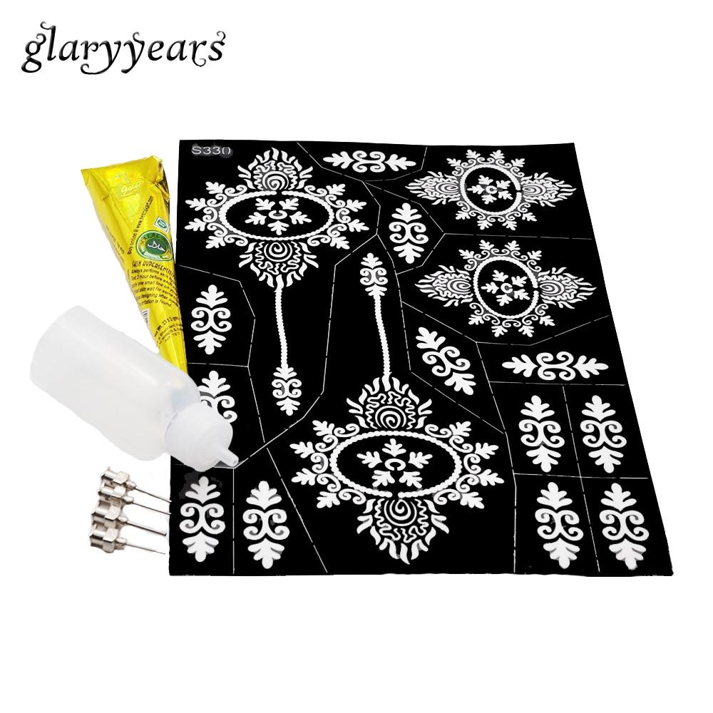 unidades pintura corporal maquillaje herramienta hueco grande regalo stencil henna plantilla del tatuaje a