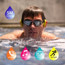 Tayogo IPX8 Bluetooth Bone conduction Headphone with Pedometer FM radio Underwater 100% waterproof MP3 Music Player for Swimming(China)