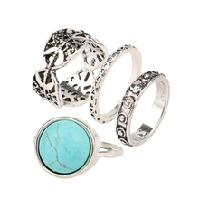 4 PS/Lot Vintage Midi Ring Set Plated Silver  Rings For Women anillos con piedras venta al por mayor lote