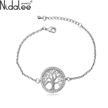 Nidalee Brand 2017 New Design Fashion White Excellent Zircon Young Tree Bracelets Bangles For Women Wedding Jewelry Girl Gift