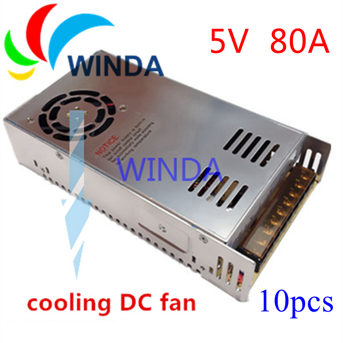 High Quality LED display switching power supply 5V 80A 400W built-in cooling DC fan full range safer centralized power supply<br>