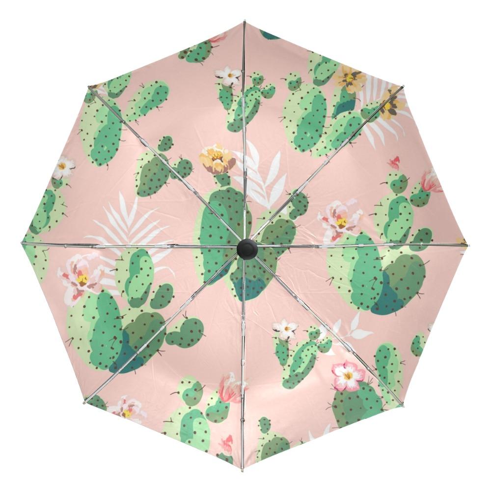 Cactus Cacti Floral Aloe Watercolor Windproof Automatic Tri-Fold Foldable Umbrella Cartoon UV Protection Travel Unbreakable Compact Portable Sun Rain Umbrella