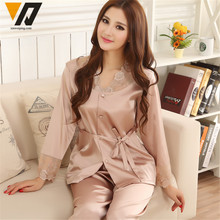 Pajama Womens Lace Silk Pajamas Sleepwear Sets Satin Spring Autumn Long-sleeved nightgown Leisure Loungewear Champagne Set L-3XL(China)