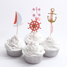 24pcs/lot Pirate Ship Cupcake Topper Theme Cartoon Party Supplies Kids Boy Birthday Party Decorations