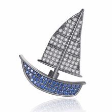 Luxury Small Sailboat Multicolor Zircon Crystal Brooches For Women Wedding Party Clothes Accessories Corsage Pins Jewelry